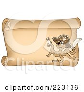 Royalty Free RF Clipart Illustration Of A Pirate Octopus On A Horizontal Parchment Page