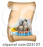 Royalty Free RF Clipart Illustration Of A Pirate Ship On A Vertical Parchment Page 7