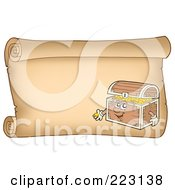 Royalty Free RF Clipart Illustration Of A Treasure Chest On A Horizontal Parchment Page