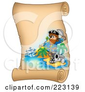 Royalty Free RF Clipart Illustration Of A Male Pirate And Cannon On A Blank Vertical Parchment Page