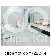 Clipart Illustration Of A Deep Bath Tub White Toilet Corner Shower And Wooden Counter With Bowl Sinks In A Modern Bathroom With Tile Walls And Flooring by KJ Pargeter