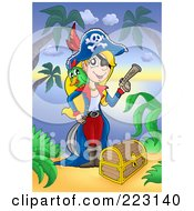 Royalty Free RF Clipart Illustration Of A Blond Female Pirate With A Treasure Chest On A Beach