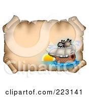 Royalty Free RF Clipart Illustration Of A Pirate Ship On A Horizontal Parchment Page 1