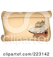 Royalty Free RF Clipart Illustration Of A Pirate Ship On A Horizontal Parchment Page 5