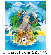 Royalty Free RF Clipart Illustration Of A Pirate Monkey Sitting On A Treasure Chest