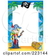 Royalty Free RF Clipart Illustration Of A Pirate Border Around White Space 14