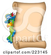 Royalty Free RF Clipart Illustration Of A Pirate Parrot Looking Around A Blank Vertical Parchment Page