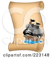 Royalty Free RF Clipart Illustration Of A Pirate Ship On A Vertical Parchment Page 1