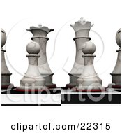 Clipart Illustration Of An Ivory Chess King Queen Bishops And Pawns Prepared For A Game Of Chess by KJ Pargeter