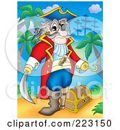 Royalty Free RF Clipart Illustration Of A Pirate Man With A Treasure Chest 2