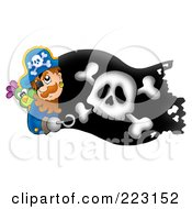 Royalty Free RF Clipart Illustration Of A Pirate Man Holding A Sword Over A Black Flag by visekart
