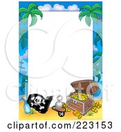 Royalty Free RF Clipart Illustration Of A Pirate And Treasure Chest Border Around White Space