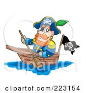 Royalty Free RF Clipart Illustration Of A Male Pirate Paddling A Boat