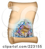 Royalty Free RF Clipart Illustration Of A Pirate Octopus With An Empty Chest On A Vertical Parchment Page