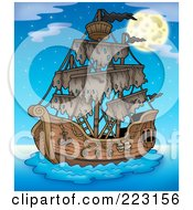 Royalty Free RF Clipart Illustration Of A Pirate Ship 3