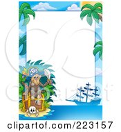 Royalty Free RF Clipart Illustration Of A Pirate Monkey Treasure Chest And Ship Border Around White Space