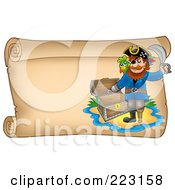 Royalty Free RF Clipart Illustration Of A Pirate And Empty Treasure Chest On A Horizontal Parchment Page