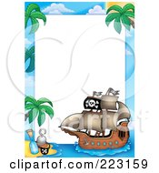 Royalty Free RF Clipart Illustration Of A Pirate Ship Frame Around White Space 4