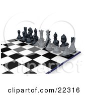 Clipart Illustration Of A Lineup Of Black Chess Pieces The King Queen Rooks Knights Bishops And Pawns On A Chessboard Ready For A Battle by KJ Pargeter