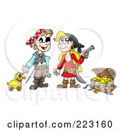 Royalty Free RF Clipart Illustration Of A Boy And Girl Playing Pirates