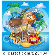 Royalty Free RF Clipart Illustration Of A Pirate Man With A Treasure Chest 1