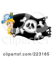 Royalty Free RF Clipart Illustration Of A Pirate Girl Holding A Sword Over A Black Flag by visekart
