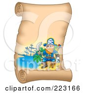 Royalty Free RF Clipart Illustration Of A Male Pirate And Sword On A Blank Vertical Parchment Page