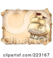 Royalty Free RF Clipart Illustration Of A Pirate Ship On A Horizontal Parchment Page 4