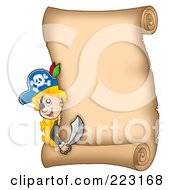 Royalty Free RF Clipart Illustration Of A Pirate Girl Looking Around A Blank Vertical Parchment Page
