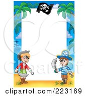 Royalty Free RF Clipart Illustration Of A Pirate Border Around White Space 5