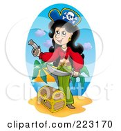 Royalty Free RF Clipart Illustration Of A Female Pirate With A Treasure Chest On A Beach