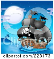 Royalty Free RF Clipart Illustration Of A Pirate Ship 4