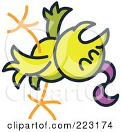 Royalty Free RF Clipart Illustration Of A Yellow Chicken Fainting