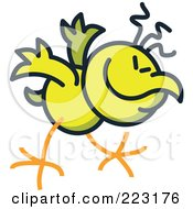 Royalty Free RF Clipart Illustration Of A Yellow Chicken Bowing by Zooco