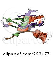 Crazy Green Halloween Witch Doing Tricks On Her Broomstick
