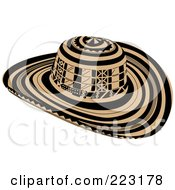 Royalty Free RF Clipart Illustration Of A Black And Beige Sombrero Vueltiao Hat