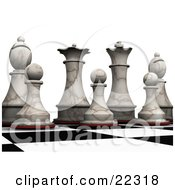 Clipart Illustration Of King Queen Bishop And Pawn Ivory Chess Pieces Lined Up And Prepared For Battle On A Chessboard