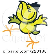 Royalty Free RF Clipart Illustration Of A Yellow Chicken Wearing A Hat