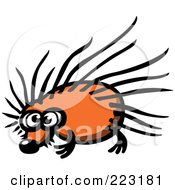 Royalty Free RF Clipart Illustration Of A Sad Hedgehog With Long Spikes