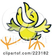 Royalty Free RF Clipart Illustration Of A Yellow Chicken Laughing