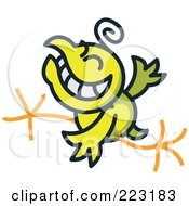 Royalty Free RF Clipart Illustration Of A Yellow Chicken Grinning And Running