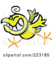 Royalty Free RF Clipart Illustration Of A Yellow Rock And Roll Chicken by Zooco