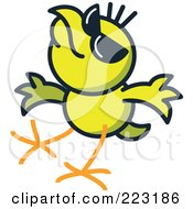 Royalty Free RF Clipart Illustration Of A Yellow Chicken Wearing Shades