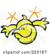 Royalty Free RF Clipart Illustration Of A Yellow Chicken Flying