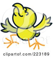 Royalty Free RF Clipart Illustration Of A Yellow Chicken Acting And Holding His Wings Up by Zooco