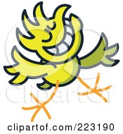 Royalty Free RF Clipart Illustration Of A Yellow Chicken Greeting And Smiling