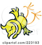 Royalty Free RF Clipart Illustration Of A Yellow Chicken Falling