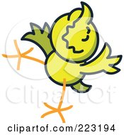 Royalty Free RF Clipart Illustration Of A Yellow Chicken Jumping And Smiling 3