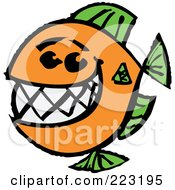 Royalty Free RF Clipart Illustration Of A Happy Orange And Green Fish With A Big Toothy Smile