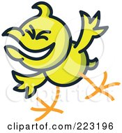 Royalty Free RF Clipart Illustration Of A Yellow Chicken Mocking